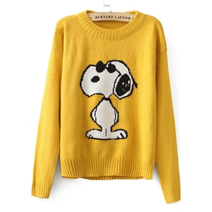 Yellow Long Sleeve Snoopy Pattern Knit Sweater