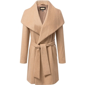 Khaki Lapel Long Sleeve Belt Woolen Coat