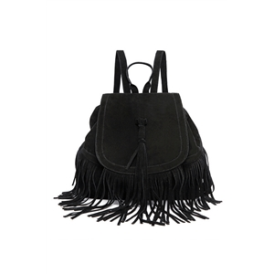 Tassel Embellished  Backpack Black Khaki School bag Street Style