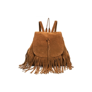 Suede Pu Leather Tassel Backpack Vintage Drawstring Retro Fringed Shoulder Rucksack Casual travel bags
