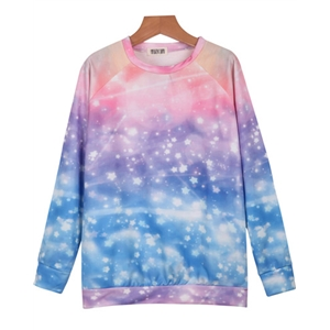 Blue Pink Long Sleeve Stars Print Loose Sweatshirt