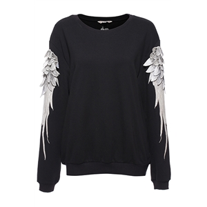 Long Sleeve Wings Embroidered Black Sweatshirt