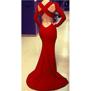 Red Long Sleeve Cross Backless Maxi Dress