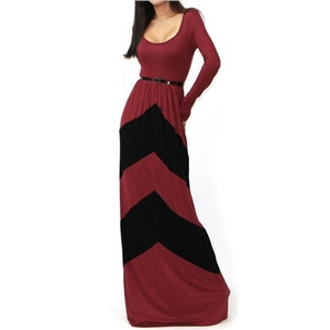 Wine Red Black Long Sleeve Striped Maxi Dress