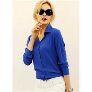 Blue Lapel Long Sleeve Chiffon Blouse