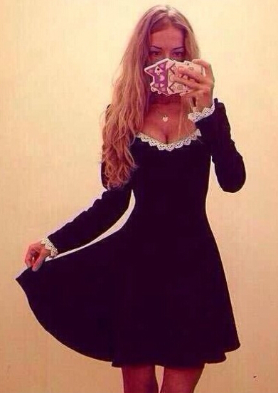 Black round neck long sleeve lace a line dress victoriaswing