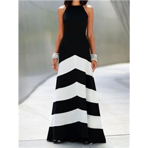 Black White Sleeveless Striped Ankle Length Dress