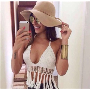Crochet bikini tassel Hand-knitted  beach sexy vintage tops Bandeau  summer collection