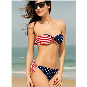 American Flag Twist Bandeau Top with Side-Tie Bottom Bikini
