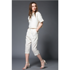 Women's white suit short sleeved simple street style