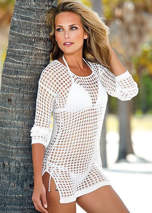 Women's Clothing Women Bikini Cover Up Hollow Crochet Swimsuit Beach Tunic Long Shirt Solid Buy One Give One