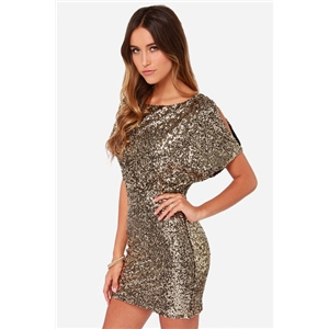 Gold Short Sleeve Split Back Sequined Dress