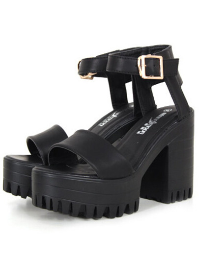 Black Chunky High Heel Buckle Strap Hidden Platform