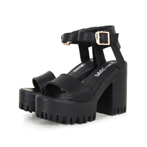 c6840a5b2492 Black Chunky High Heel Buckle Strap Hidden Platform Sandals ...