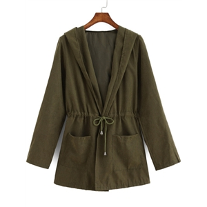Green Hooded Drawstring Waist Pockets Coat