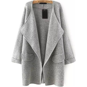 Grey Lapel Long Sleeve Loose Sweater Coat