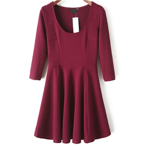Scoop Neck Pleated Wine Red Dress