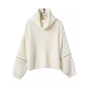 Turtleneck Zipper Beige Sweater
