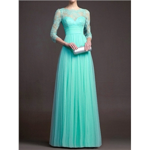 Turquoise Sheer Lace Pleated Maxi Dress