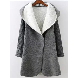 Grey Hooded Long Sleeve Pockets Sweater Coat c7bfe066e