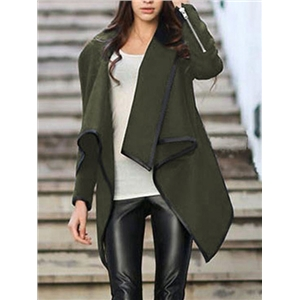 Turtleneck Zipper Asymmetrical Army Green Coat