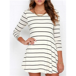 Whites Tees Striped Open Back Chambray Stripy Fringes Stria Shift Dress