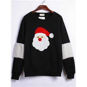 Black Round Neck Santa Claus Embroidered Sweatshirt