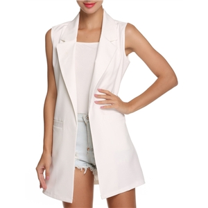 Lapel Slim Long White Vest