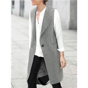 Lapel Single Button Pockets Long Grey Vest