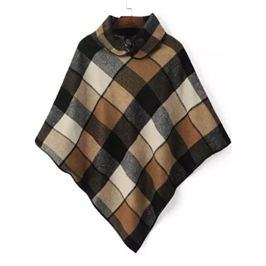 Brown Lapel Plaid Contrast PU Leather Cape