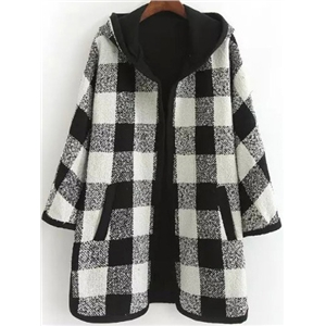Black White Hooded Plaid Loose Coat