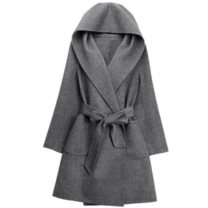 Grey Hooded Pockets Belt Long Coat