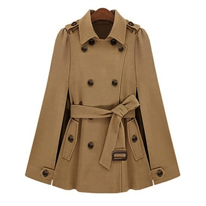 Camel Lapel Epaulet Double Breasted Coat