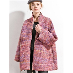 Multicolor Stand Collar Long Sleeve Pockets Coat