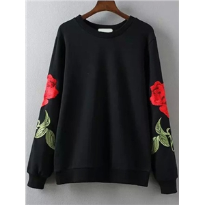 Rose Embroidered Black Sweatshirt