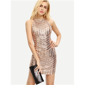 Halter Neck Gold Geometric Sequin Dress