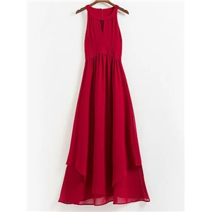 Red Sleeveless Cut Out Front Chiffon Maxi Dress