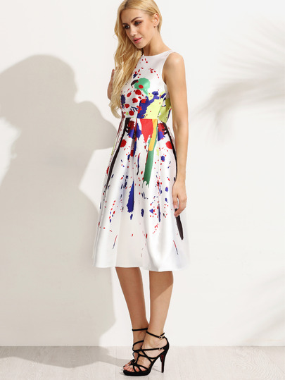White Paint Splatter Print Fit And Flare Dress Victoriaswing