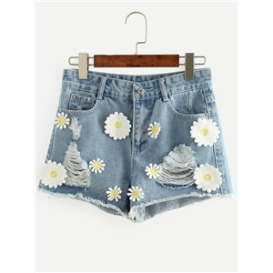 Blue Flower Appliques Ripped Denim Shorts