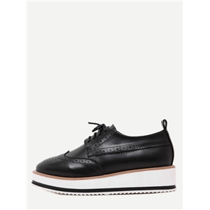 Black Wingtips Faux Leather Platform Oxford Shoes