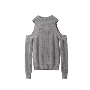 High-necked  long-sleeved strapless knit pullover sweater