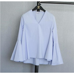 Sweet V-neck Long-sleeved Blue T-shirt