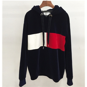 Red and White Velvet Loose Hooded Long Section Pullover Sweatshirt
