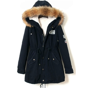 Navy Raux Fur Trim Hooded Drawstring Parka