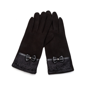 Black Lace Trim Bow Gloves