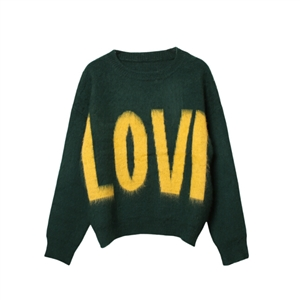 Black Green Autumn And Winter Long-sleeved Sweater