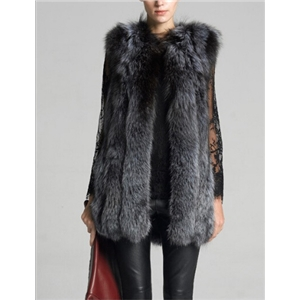 Long Section Fox Fur Imitation Vest