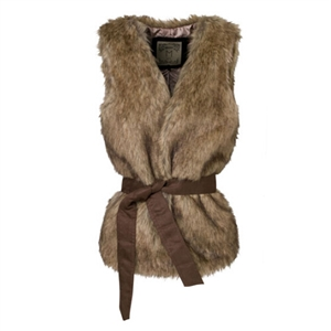 Brown Fur Vest With Waistband