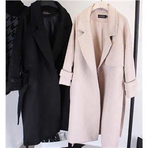 Long Section Woolen Winter Coat With Waistband