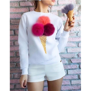 Woobies Ice Cream Cone Print Round Neck sweatshirt